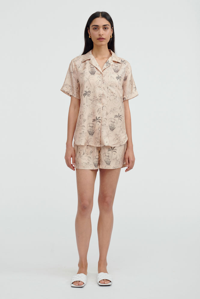 Silk Printed Camp Collar Shirt - V Monogram