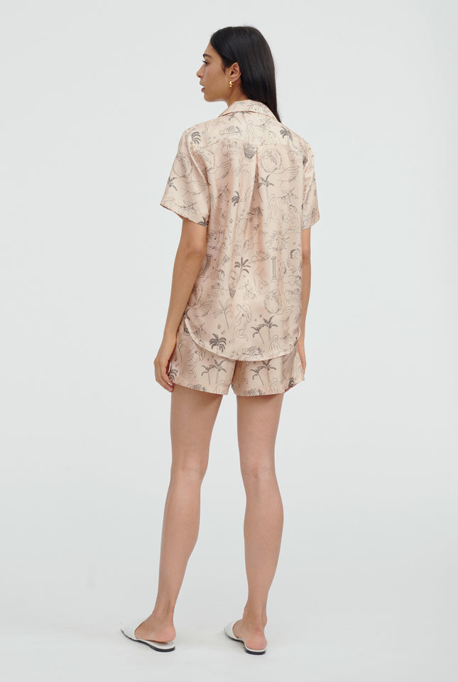 Silk Printed Camp Collar Shirt - Cherub Print