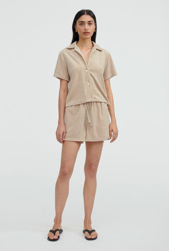 Terry Camp Collar Shirt - Taupe