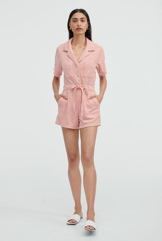 Terry Camp Collar Playsuit - Melon