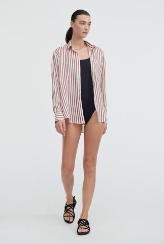 Printed Classic Shirt - Rust/White Stripe