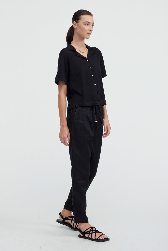 Knitted Camp Collar Shirt - Black