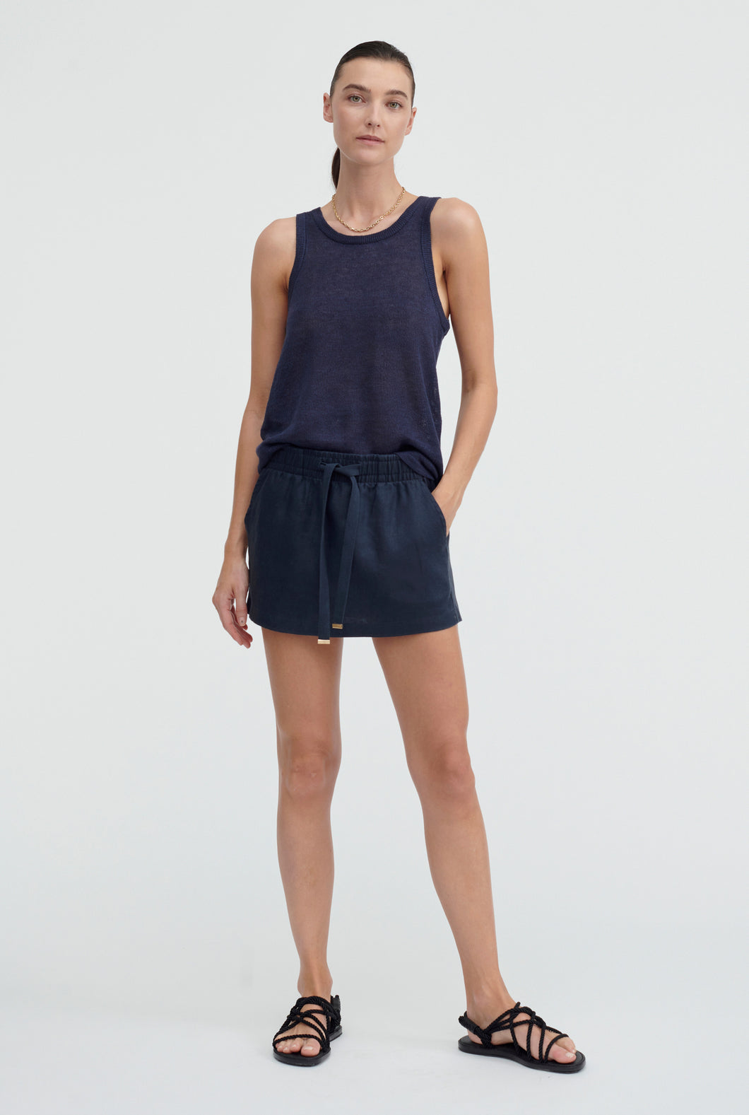 Knitted Tank - Navy