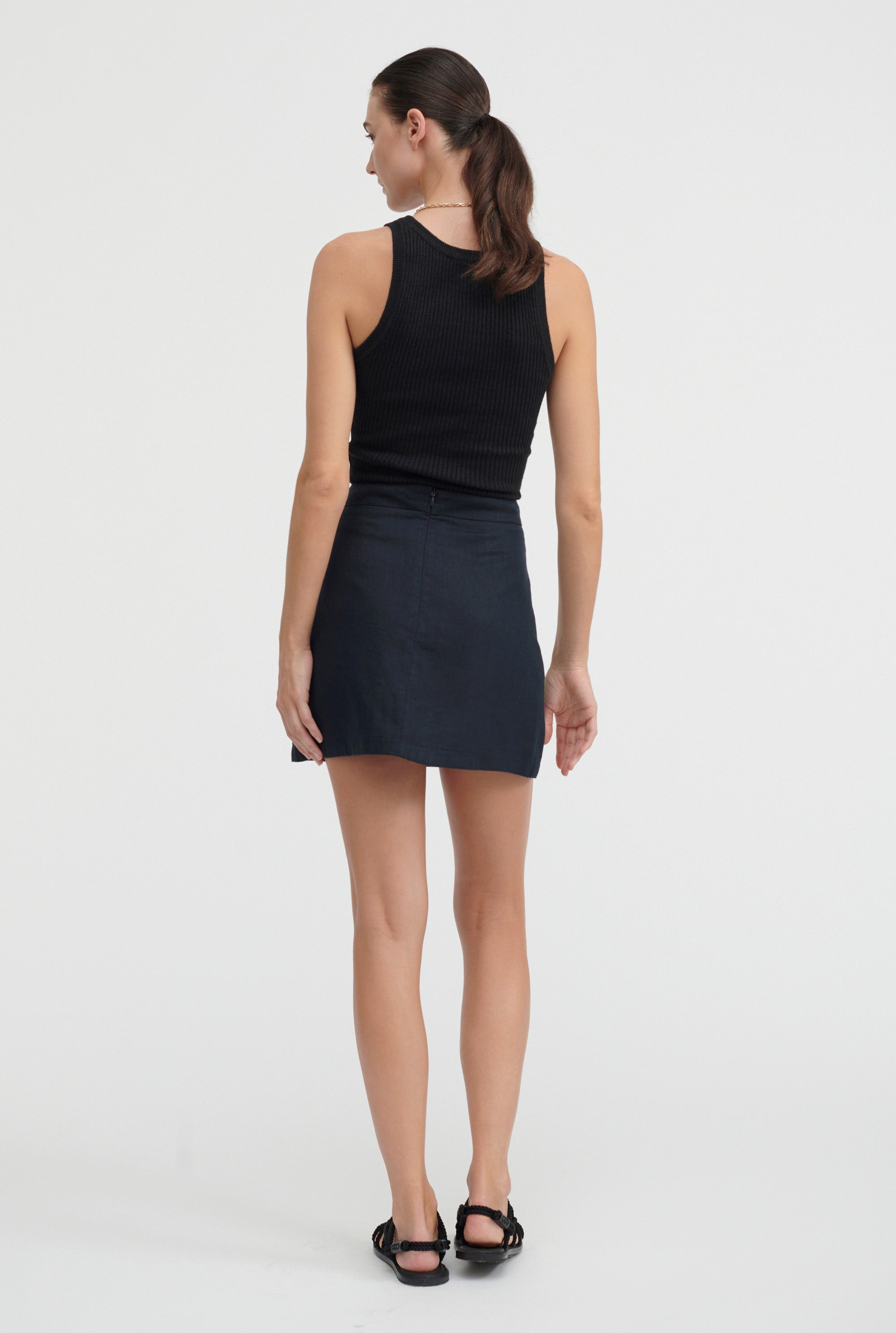 Fitted Mini Skirt - Navy