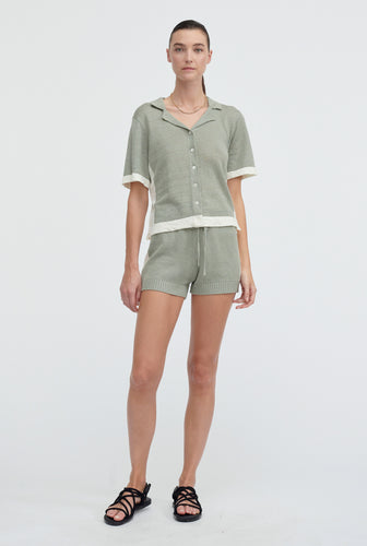 Spliced Knitted Short - Sage/Off White