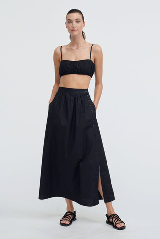 Ruched Poplin Crop - Black