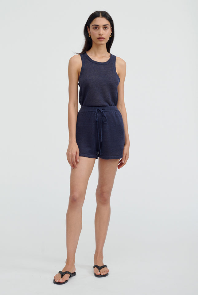 Linen Knitted Short - Navy