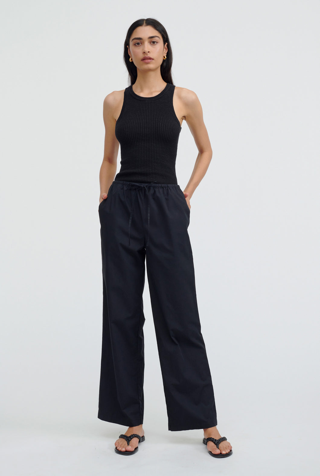 Cotton Drawstring Pant - Black