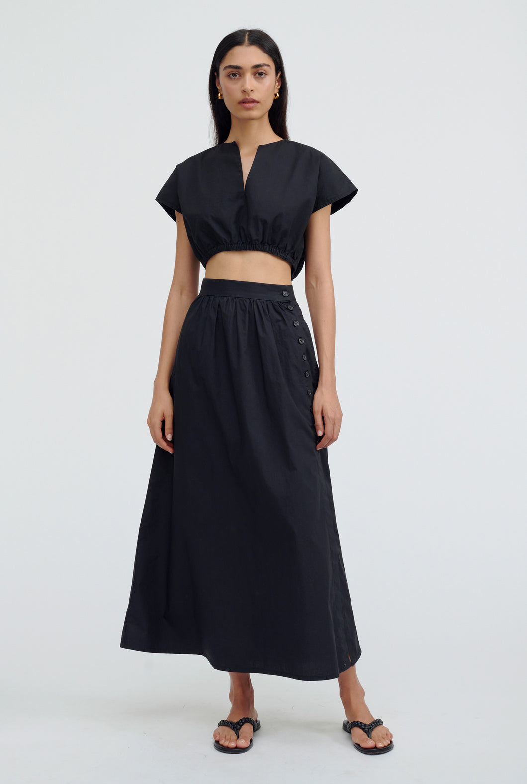 Button Up Midi Skirt - Black