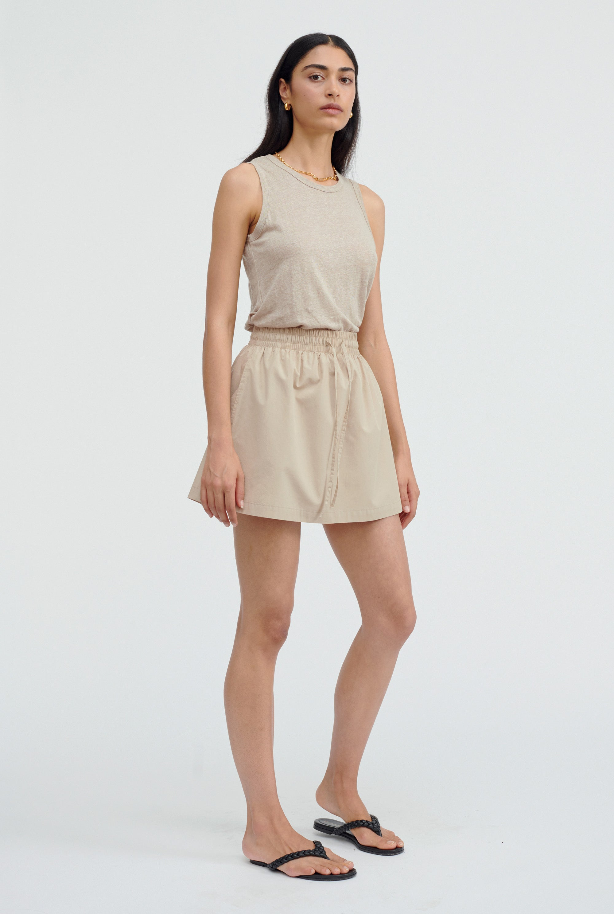 Linen Tank - Taupe