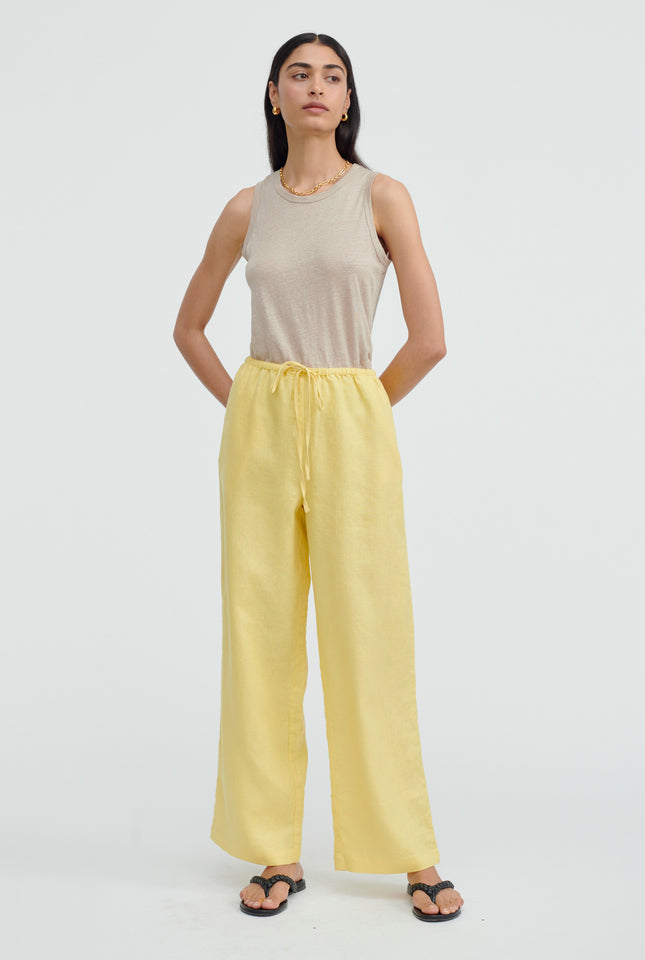 High Waisted Drawstring Pant - Lemon