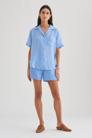Camp Collar Shirt - Cornflower Blue