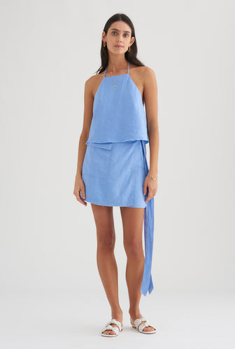 Mini Wrap Skirt - Cornflower Blue