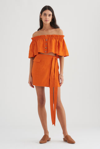 Mini Wrap Skirt - Burnt Orange