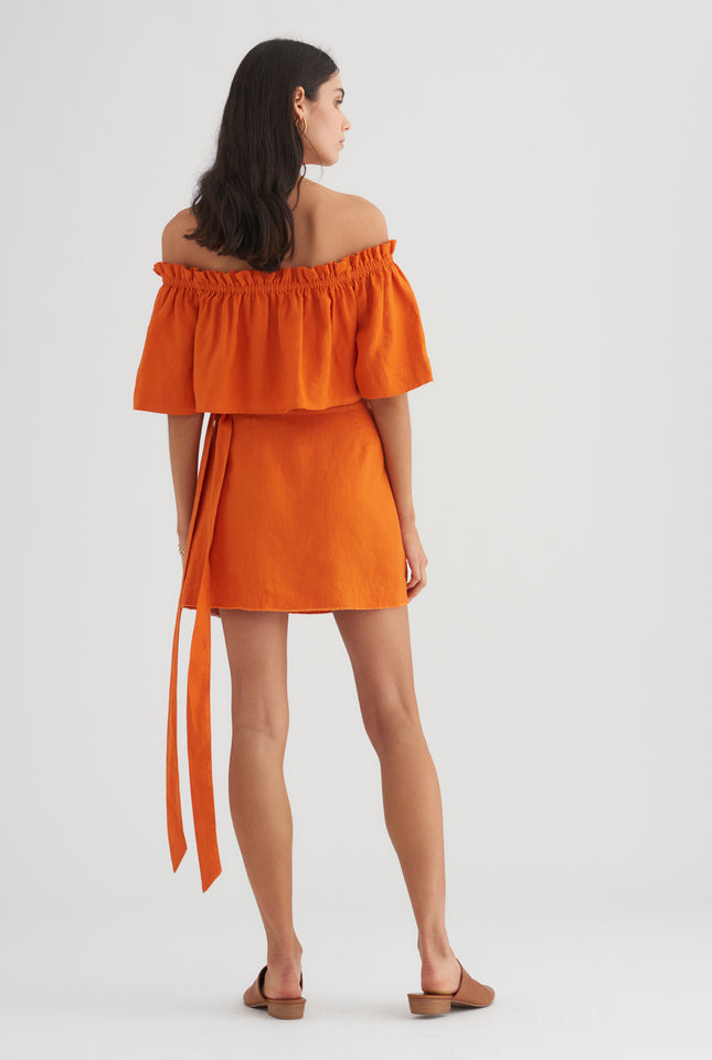 Strapless Button Front Top - Burnt Orange