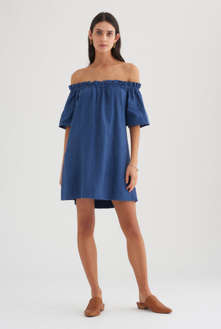Tie Shoulder Mini Dress - Ocean Blue