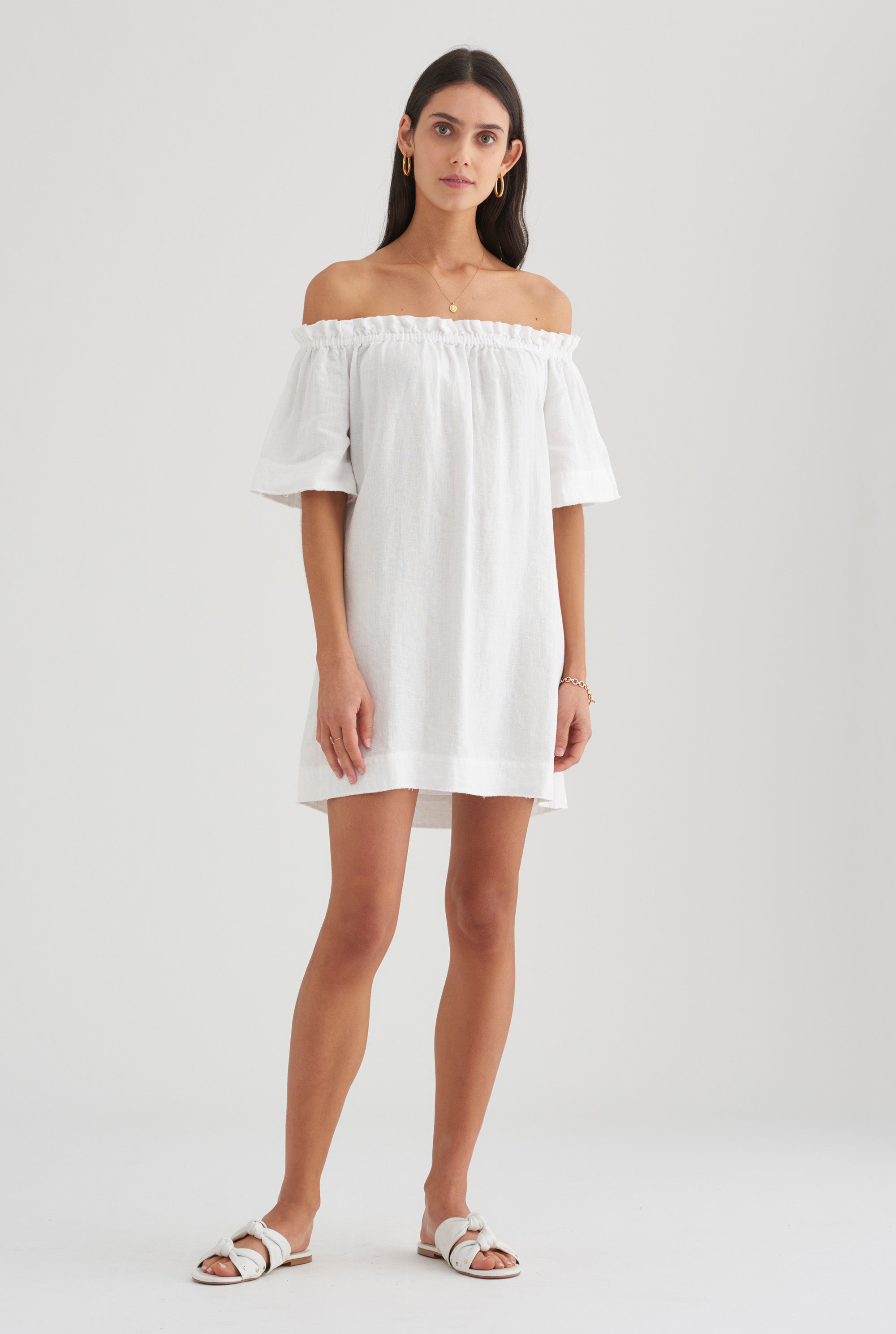 Tie Shoulder Mini Dress - White