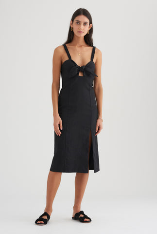 Tie Front Dress - Black