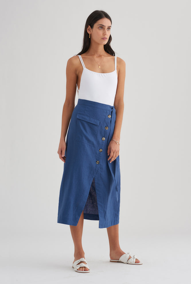 Pocket Wrap Skirt - Ocean Blue