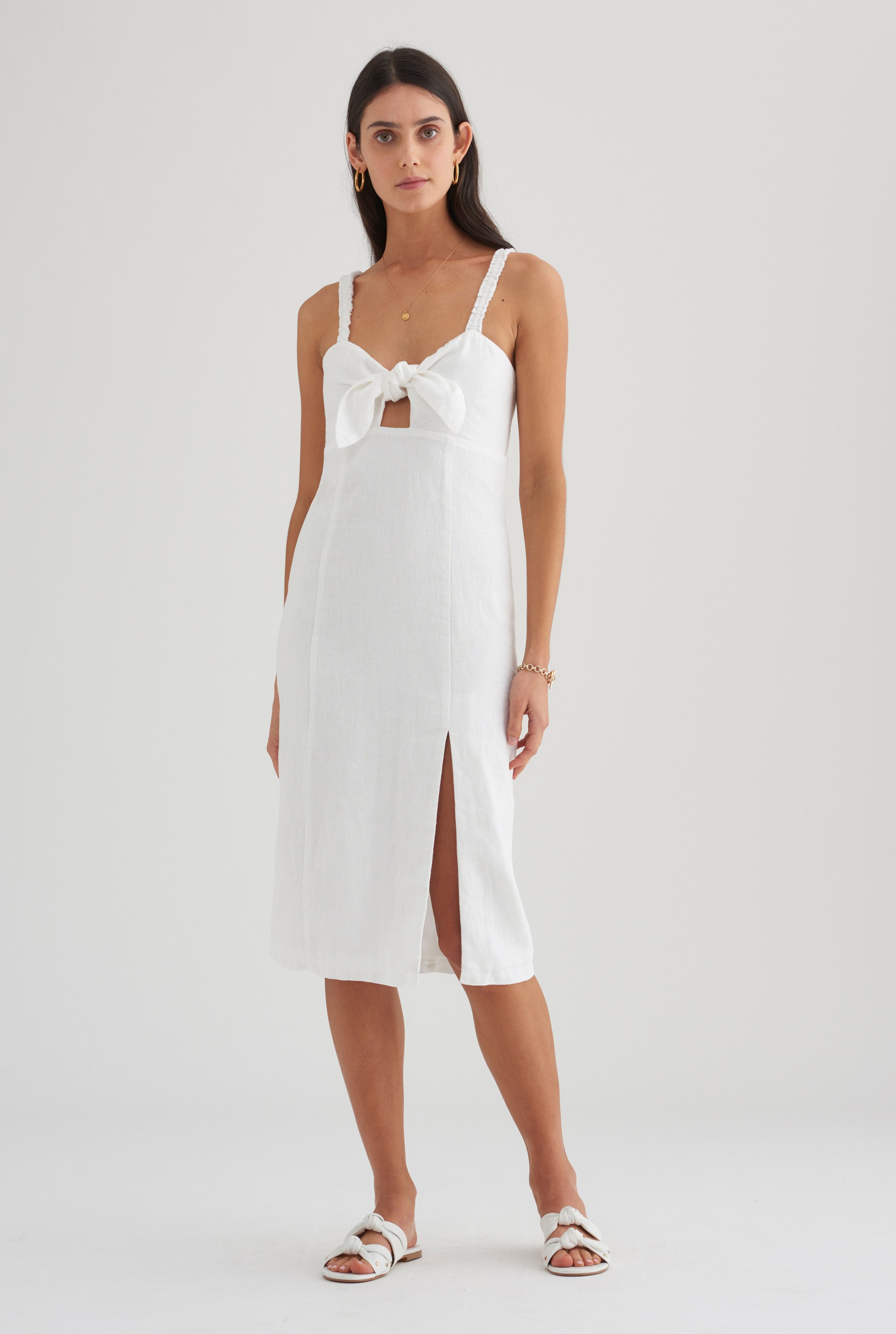 Tie Front Dress - White