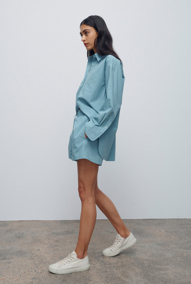 Oversized Heavy Poplin Shirt - Dusty Blue