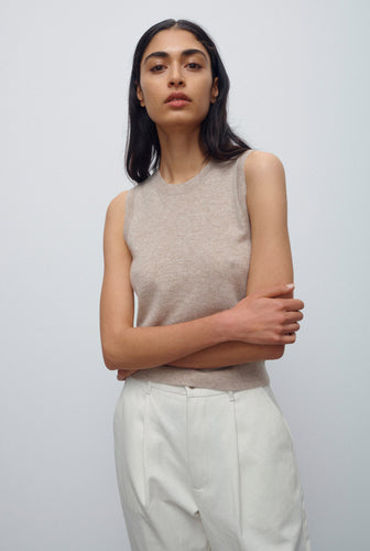Light Cashmere Tank - Sand Marl