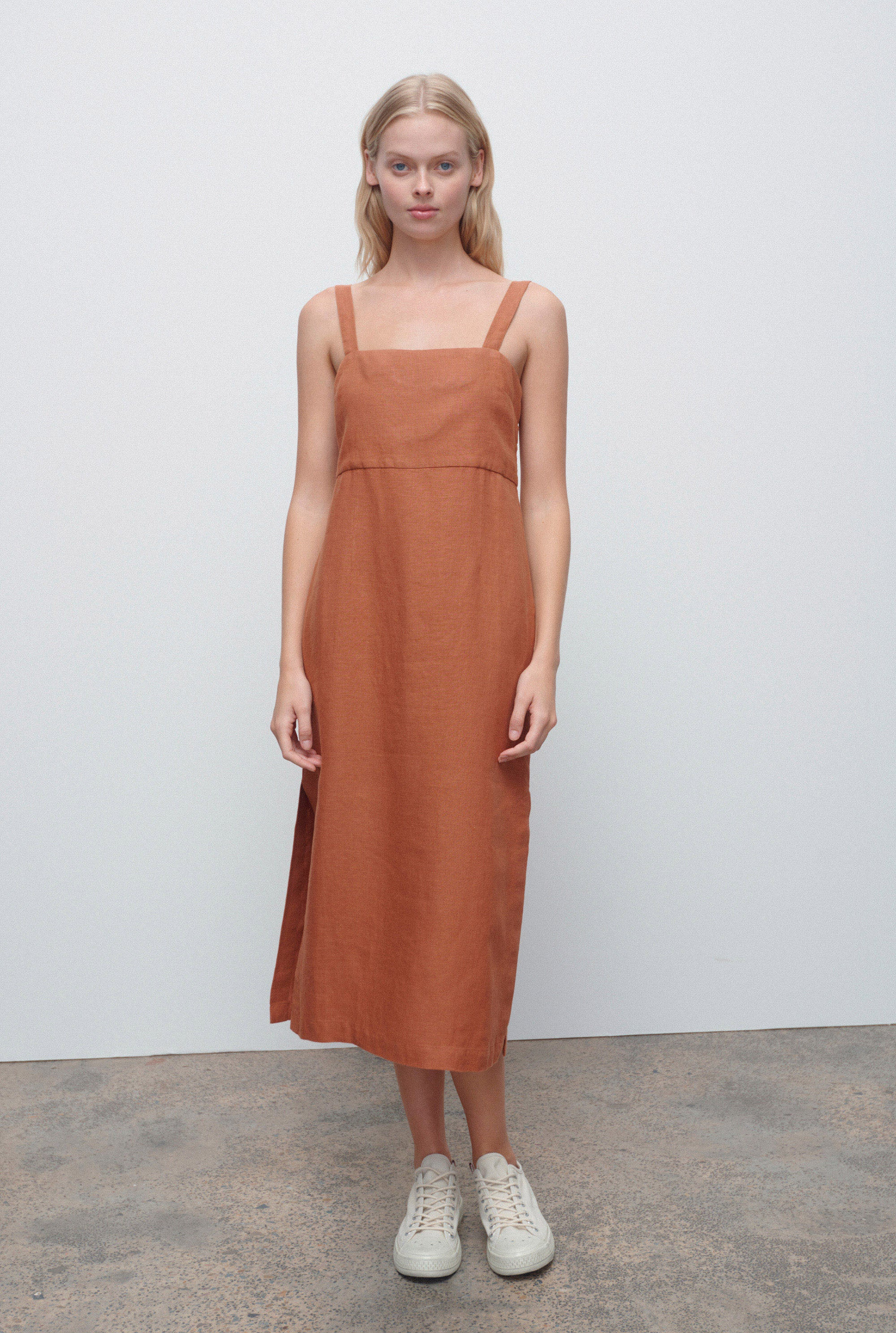 Linen Lounge Dress - Terracotta