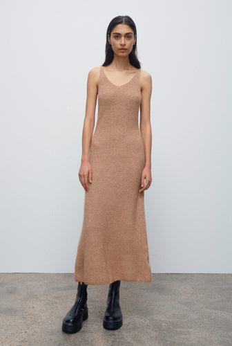 Mohair Slip Dress - Camel