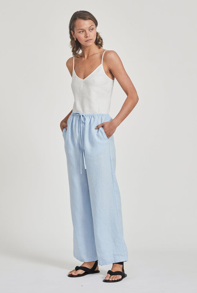 High Waisted Drawstring Pant - Spring Blue