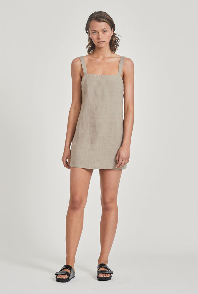 Linen Mini Dress - Putty