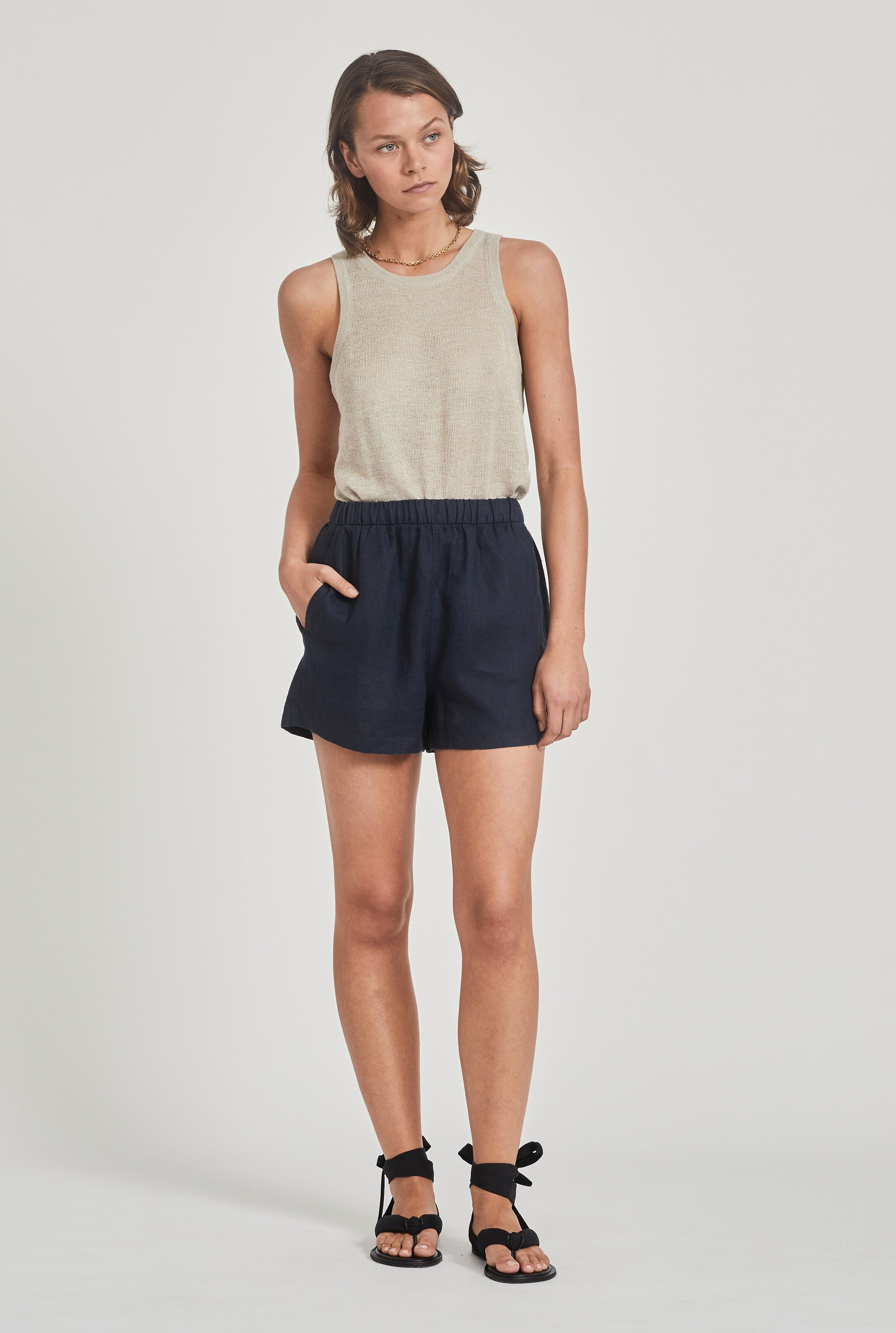 Linen Boxer Short - Navy