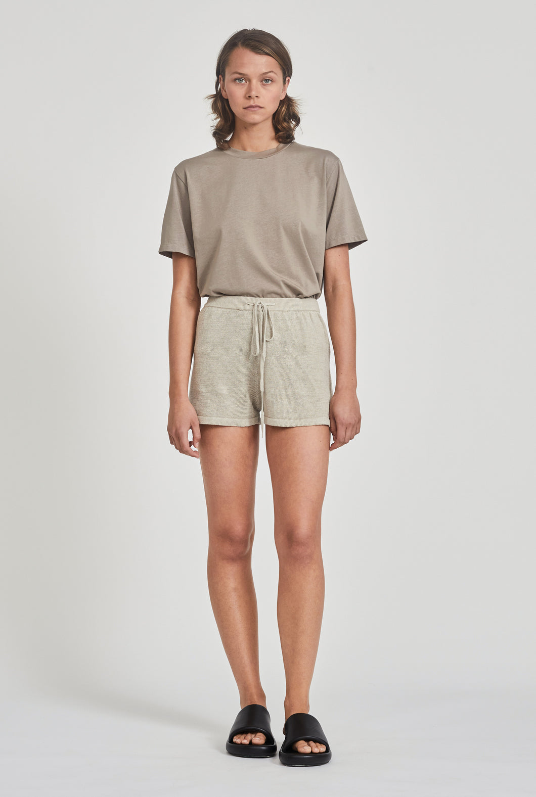 Linen Knitted Short - Taupe