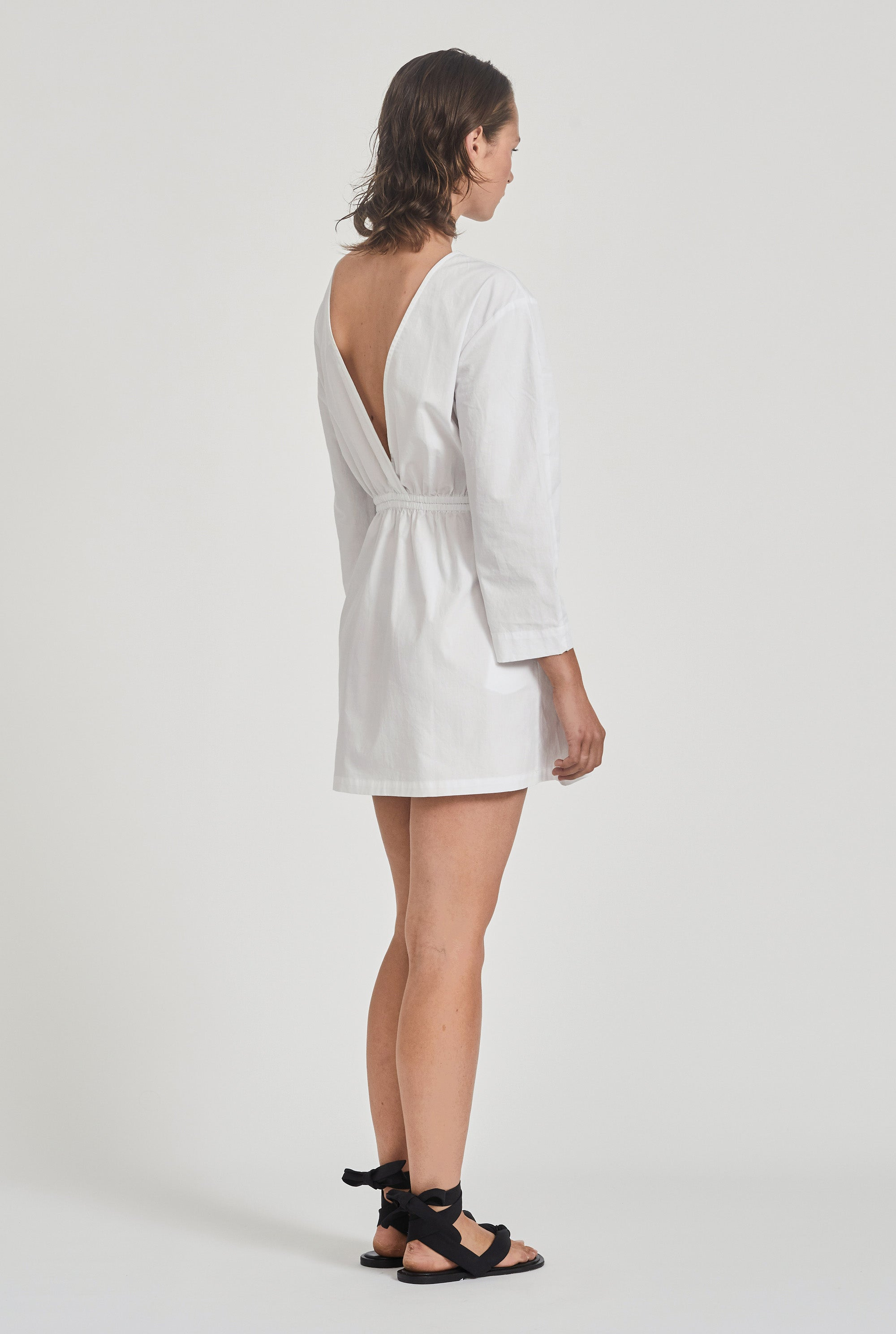 Open Back Sleeved Dress - White