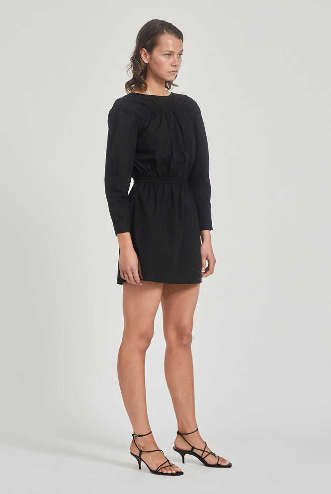 Open Back Sleeved Dress - Black