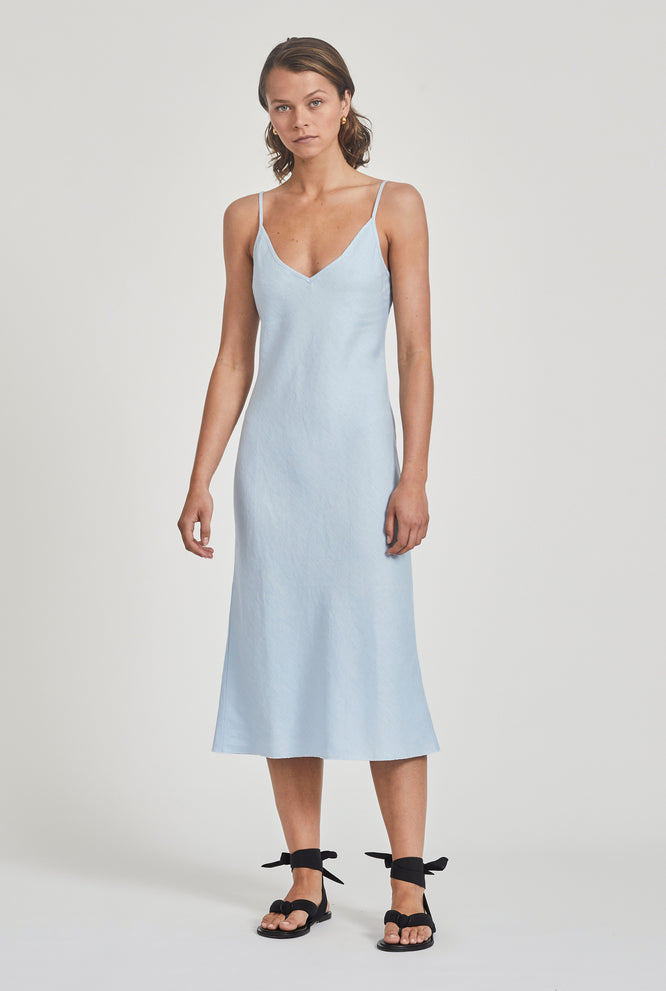 Linen Bias Slip Dress - Navy