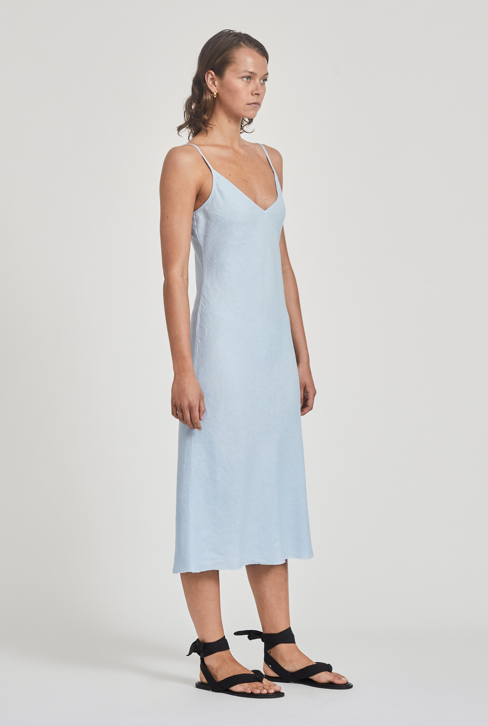 Linen Bias Slip Dress - Spring Blue