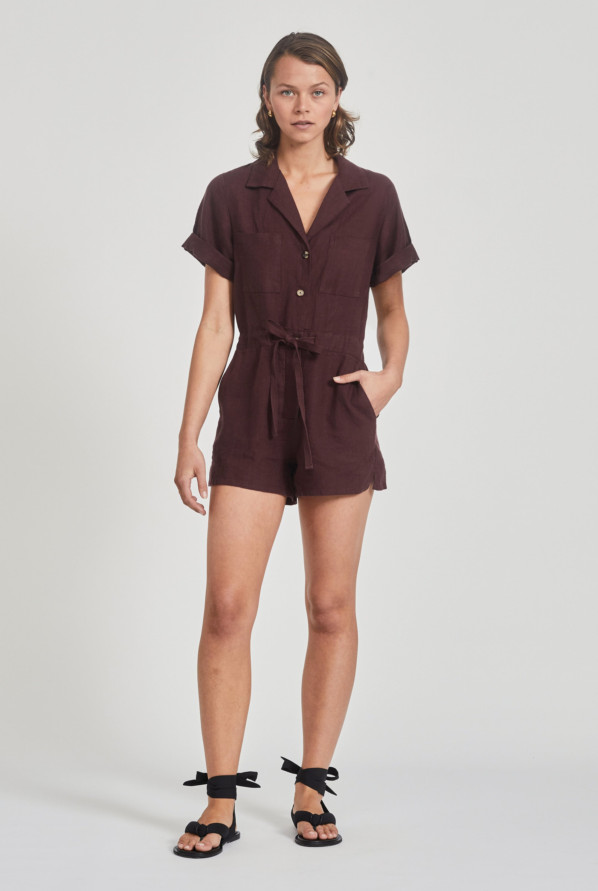 Camp Collar Playsuit - Burgundy