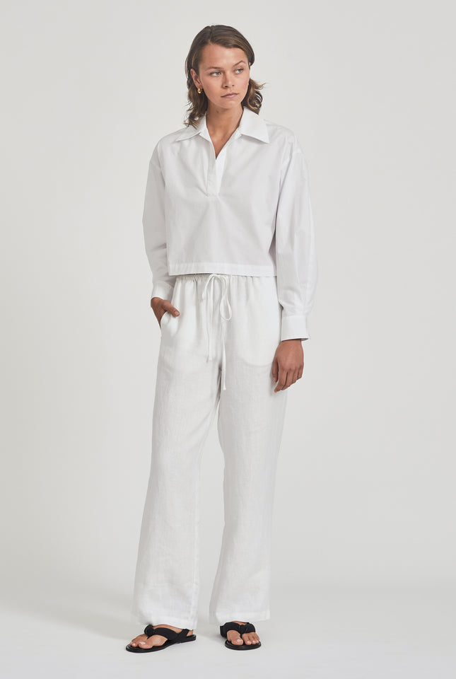 Cropped Pop Over Shirt - White