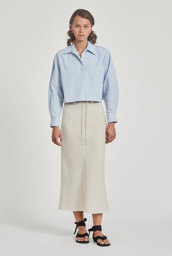 Cropped Pop Over Shirt - Spring Blue
