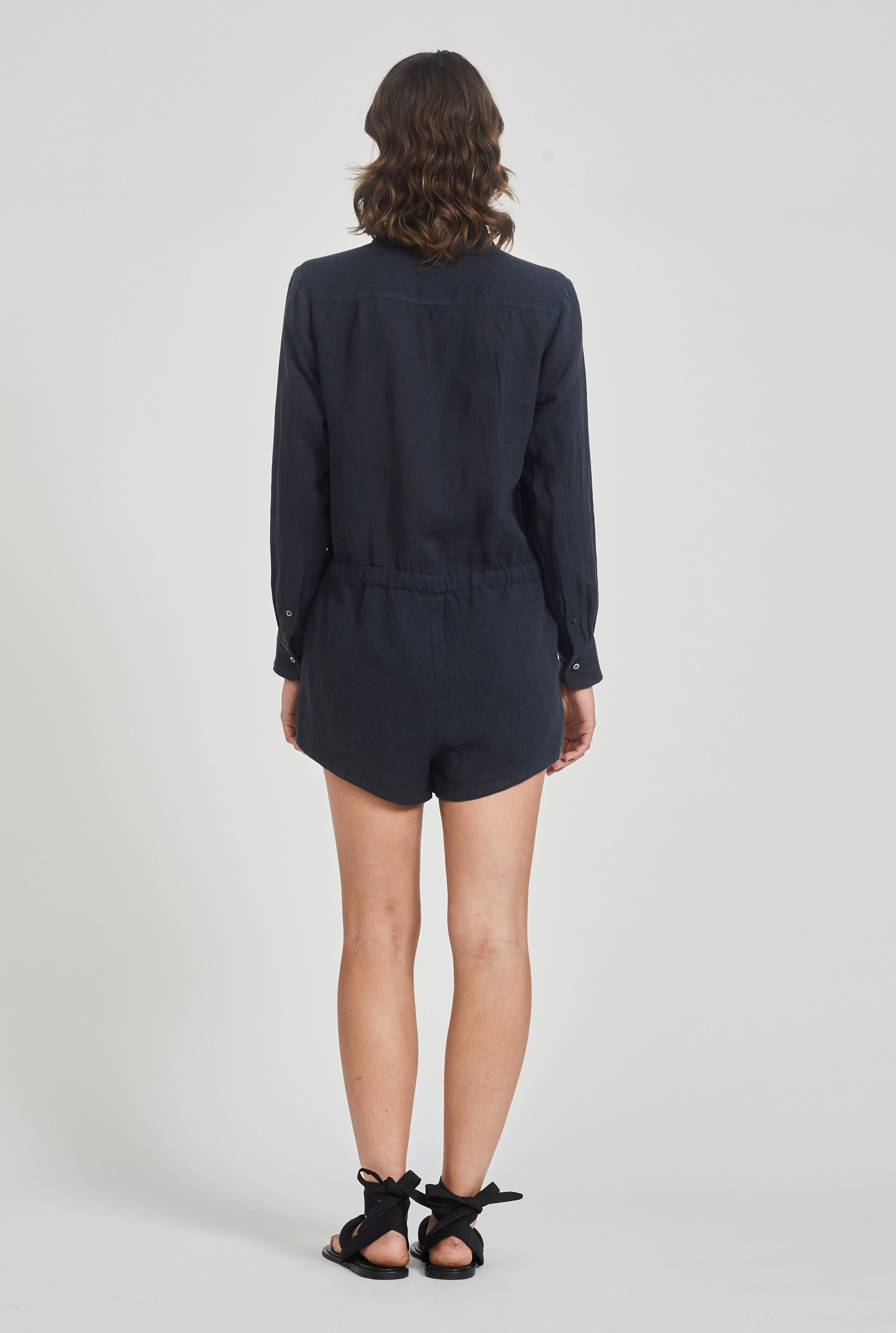 Slim Shirt Playsuit - Navy