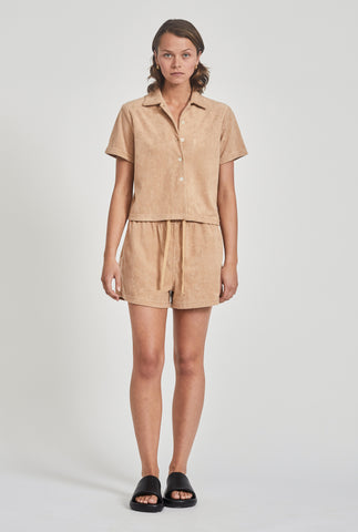 Terry Camp Collar Shirt - Camel