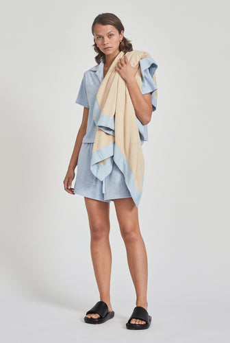 Woven Terry Border Towel - Oat/Light Blue