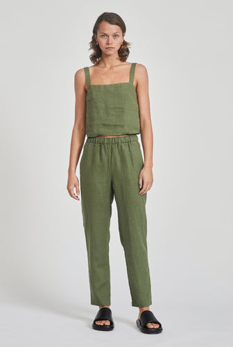 High Waisted Lounge Pant - Signature Green