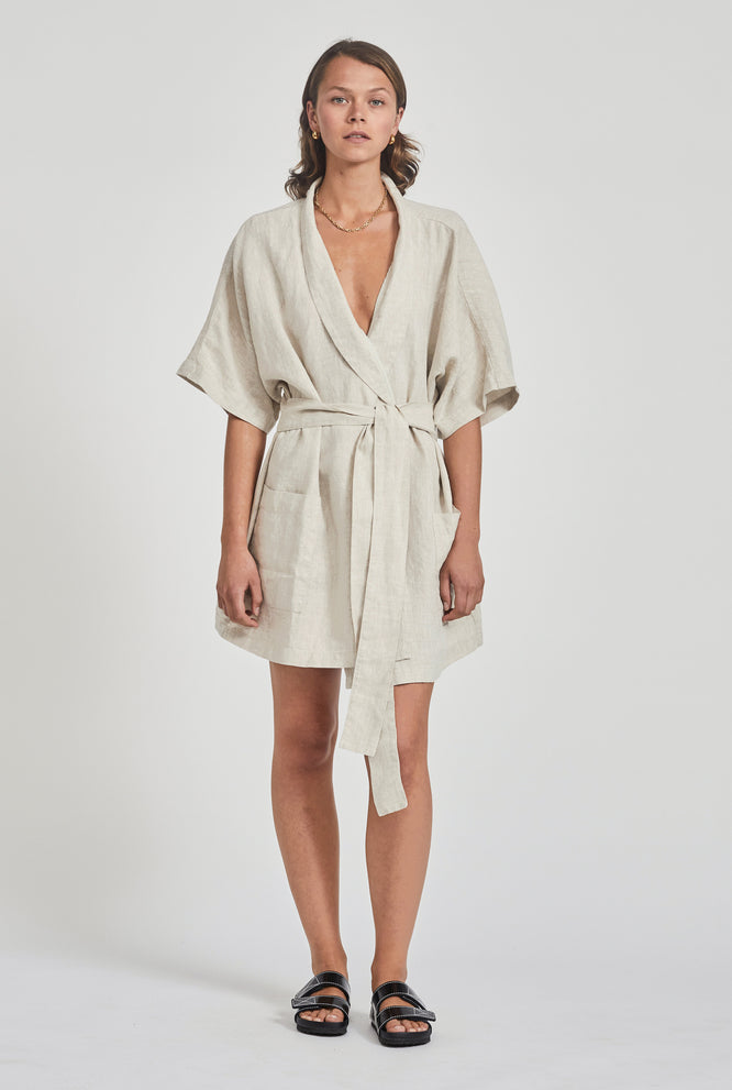 Linen Short Robe - Two Tone Stripe