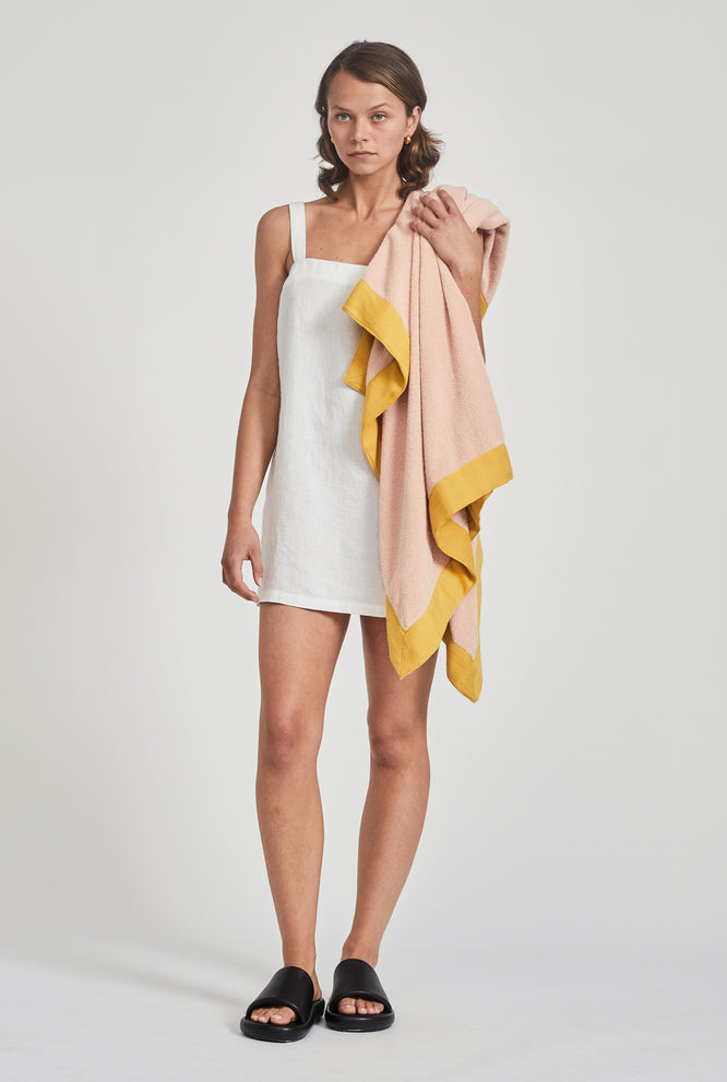 Woven Terry Border Towel - Pink/Mustard