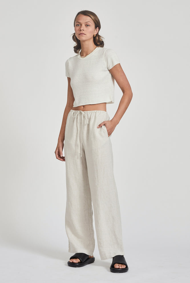 Exposed Seam Cropped Tee - Sand