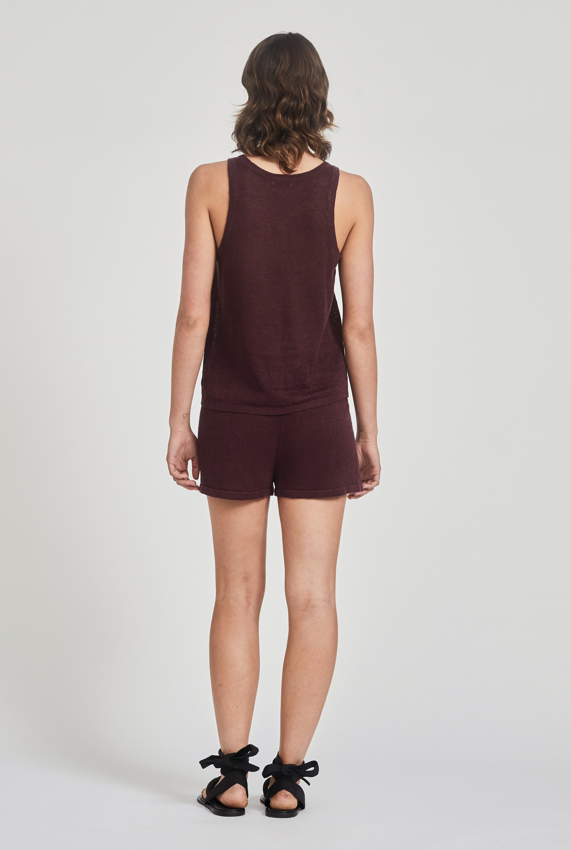 Linen Knitted Short - Burgundy