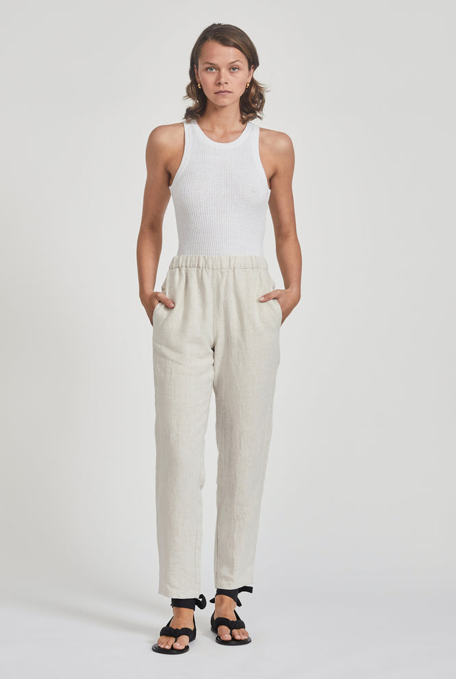High Waisted Lounge Pant - White