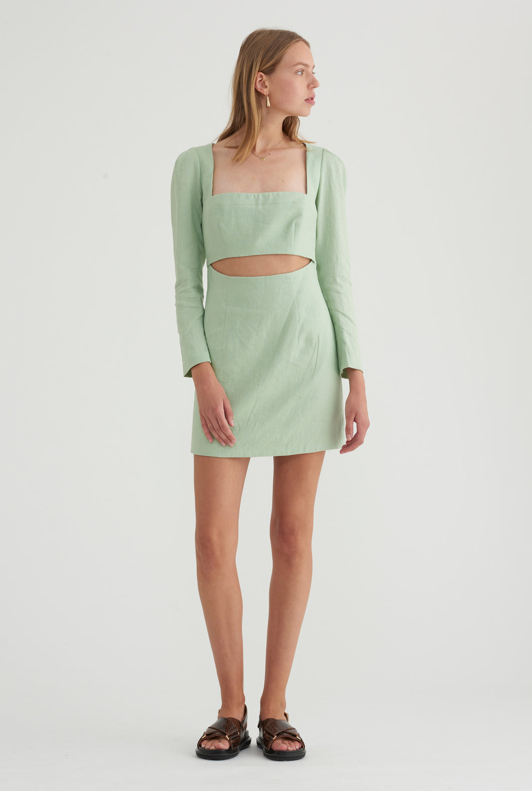 Linen Sleeved Dress - Mint