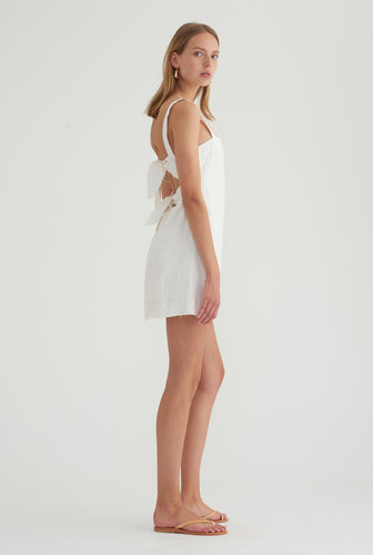 Double Knot Tie Back Dress - White